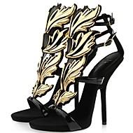 Sandaalit - Piikkikorko - Naisten kengät - Nahka - Musta / Valkoinen - Puku - Avokärkiset