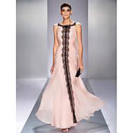 저녁 정장파티/프롬/밀리터리 볼 드레스 - 펄 핑크 트럼펫/멀메이드 바닥 길이 바토 쉬폰 플러스 사이즈
