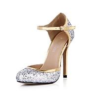 Women's Spring / Summer / Fall Heels / Mary Jane / Round Toe Glitter Party & Evening Stiletto Heel Sparkling Glitter / Buckle Silver