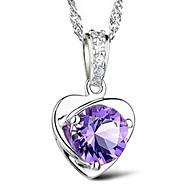 Gorgeous Platina Women's Slivery Pendant Necklace (1 Pc)(White,Purple)