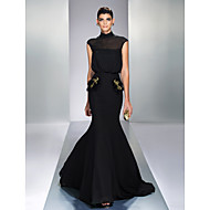 TS Couture® Formal Evening Dress - Black Plus Sizes / Petite Trumpet/Mermaid High Neck Sweep/Brush Train Chiffon