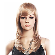 Høy kvalitet 20% Human Hair & 80% Varmebestandig Fiber Hair capless Medium Curly Wig (Platinum Blonde)