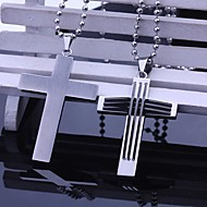 Personalized Gift  Men's Stainless Steel Jewelry Cross Shaped  Engraved Pendant Necklace  with 60cm Chain