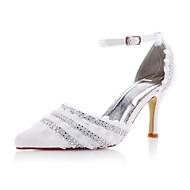 Women's Spring / Summer / Fall Heels / D'Orsay & Two-Piece Satin Wedding / Party & Evening Stiletto Heel Rhinestone / Stitching LaceIvory