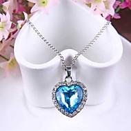 בגדי ריקוד נשים שרשראות תליון ספיר Heart Shape קריסטל אוסטרי סגסוגת אהבה אופנתי כחול תכשיטים ל חתונה Party אירוע מיוחד יומי 1pc