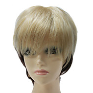 Capless Curta Preto e Luz Dourada de várias cores de cabelo sintético em linha reta peruca completa