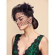 깃털을 가진 얇은 명주 그물 무늬 패턴 웨딩 / 파티 블러셔 베일 (색상 선택)
