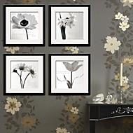 Květiny a rostliny Kanvas v rámu / Set v rámu Wall Art,PVC Černá Včetně pasparty s rámem Wall Art