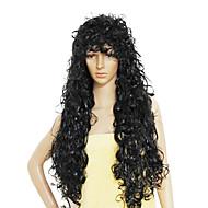 Lange syntetiske krøllede hår paryk flere farver