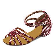Non Customizable Women's Dance Shoes Latin Leatherette Chunky Heel Fuchsia