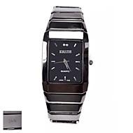 Osobní dárek Pánské Square Black Dial Tungsten ocelovou pásku Analog Gravírované hodinky