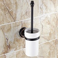 """Toilet Brush Holder Oil Rubbed Bronze Wall Mounted 390 x 83 x 66mm (15.35 x 3.26 x 2.59"""") Brass / Ceramic Traditional"""
