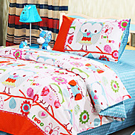 Huani® Duvet Cover Set, 2-Piece for Kids, 100% Cotton Contemporary Style Print Lovely Owl