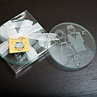 """Just Married"" Glass Coaster Favor - Set of 2"