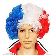 Capless Football Fans Party Wig (fransk flag farver)