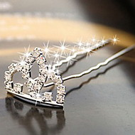 Ethnic Princess Tiaras Shape With Cubic Zirconia Silver Silver Plated Hair Sticks For Women(1 Pc)