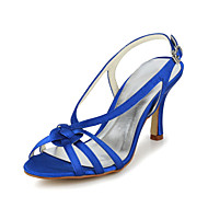 Women's Spring Summer Fall Slingback Satin Wedding Party & Evening Stiletto Heel Black Blue Purple Red White Silver Gold Champagne Beige