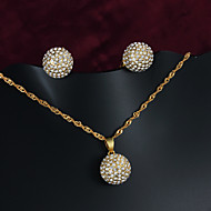 Gorgeous Brass Gold Plated with Cubic Zirconia Women's Jewelry Set(Including Necklace And Earrings)(More Colors)