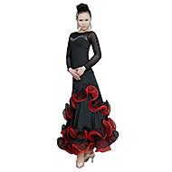 Ballroom Dance Dresses Women's Training Tulle Ruffles Long Sleeve Natural