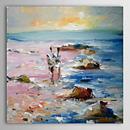 IARTS®Hand Painted Oil Painting Landscape Lovers Working on The Beach with Stretched Frame