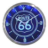 nc0315 Route 66 Bar Beer Neon Sign LED Wall Clock