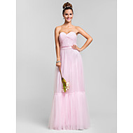 Floor-length Tulle Bridesmaid Dress - Blushing Pink Plus Sizes / Petite Sheath/Column Sweetheart