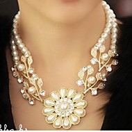 Women's Diamond Pearl Floral Necklace