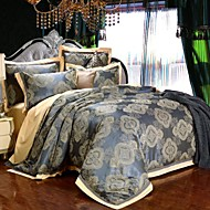 100% Cotton & Silk Blue Rome Style Jacquard Duvet Cover Set 4 Pcs Full Queen Size