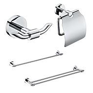 4 Embalado Latón Accesorios de Baño Set, Single y Double Towel Holder Bar / Papel / gancho del traje