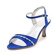 FemininoSaltos / Bico Aberto-Salto Carretel-Preto / Azul / Amarelo / Rosa / Roxo / Vermelho / Marfim / Branco / Prateado / Dourado-Cetim-