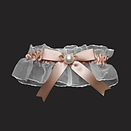 Garter Satin Tulle Bowknot Imitation Pearl Gold