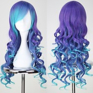 VOCALOID3 LUKA Long Curly Blue & purple Anime Cosplay Wig