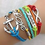 vintage das mulheres multideck ancorar multi-color símbolos combinados pulseira trançada