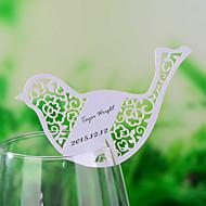 bordkort og holdere laser cut fugl formet sted kort for vin glass - sett av 12