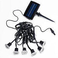 Set of 6 White LED Solar Decking Lights with 1 Panel in Stainless Steel