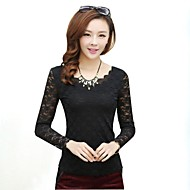 Women's Lace/Solid White/Black/Beige Blouse , Round Neck Long Sleeve Lace