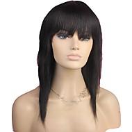 100% del pelo humano de largo derecho completo Bangs sin tapa peluca de pelo natural Negro