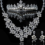 Elegant Alloy With Rhinestone And Pearl Wedding Jewelry Set (Including Tiara,Necklace And Earrings)