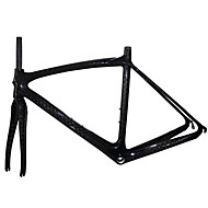 700C High Quality Full Carbon Feather Light Road Bike Frame with Rigid Fork Natural Color