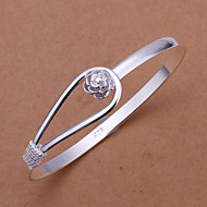 Euramerican Round Shaped Silver Plating Single Buckle Adjustable Bracelet(Silver)(1Pc)