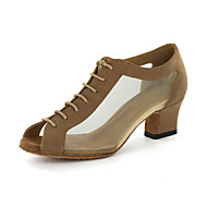 Customizable Women's Dance Shoes Modern Leatherette Chunky Heel Gold