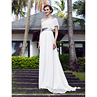 Lanting A-line Plus Sizes Wedding Dress - Ivory Sweep/Brush Train One Shoulder Georgette/Stretch Satin