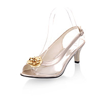 Women's Shoes Transparent Kitten Heel Peep Toe Sandals Dress Black/Silver/Gold