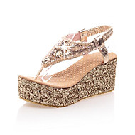 Women's Spring Summer Platform Leatherette Casual Wedge Heel Platform Buckle Silver Rose Gold