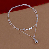 Fashion Drop Shape Pendant Silver Plated Rolo Necklace Jewelry(White)(1Pc)