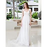 웨딩 드레스가 지정 크기가 A 라인을 lanting 플러스 - 아이보리 법원 기차 스트랩 쉬폰 / 얇은 명주 그물