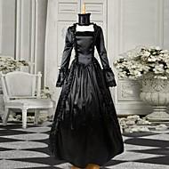 Zwarte lange mouwen satijnen Gothic Victoriaanse jurk