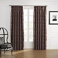 Two Panels European Curve Brown Bedroom Polyester Blackout Curtains Drapes