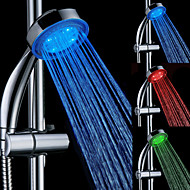 3 Colors Magic Temperature Controlled LED Faucet Top Spray Shower Head Bathroom Showerheads