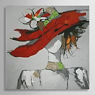 gerilmiş çerçeve ile kırmızı şapka ile el boyalı yağlıboya insanlar güzel kız
